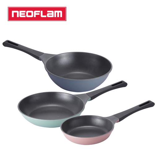 [네오플램] 티타늄코팅 제이드 주물 후라이팬 3종세트